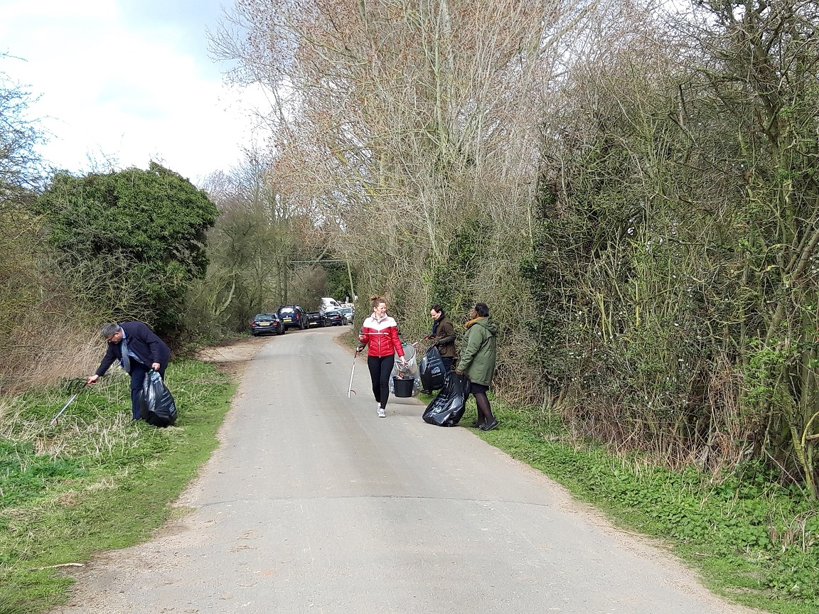 East Suffolk Council staff litter picking in Melton