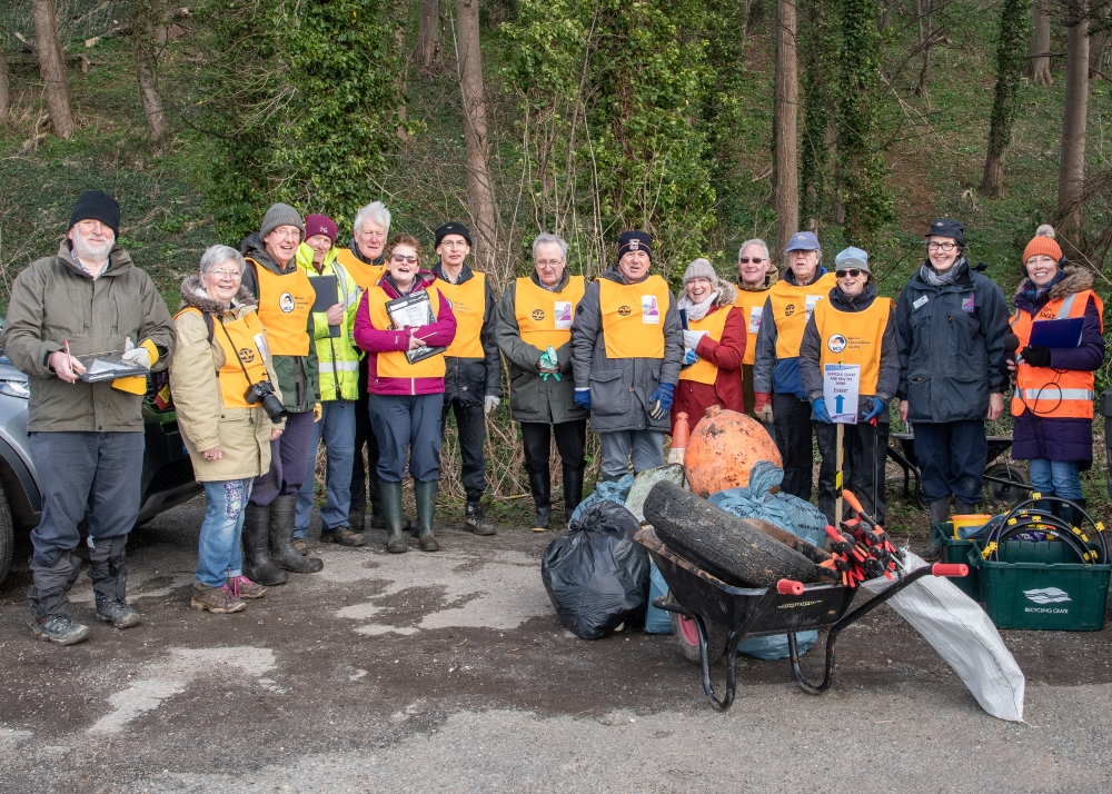 Volunteers helping out in the AONB