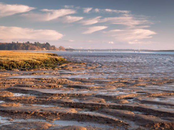 A photo of the River Deben with blue skies